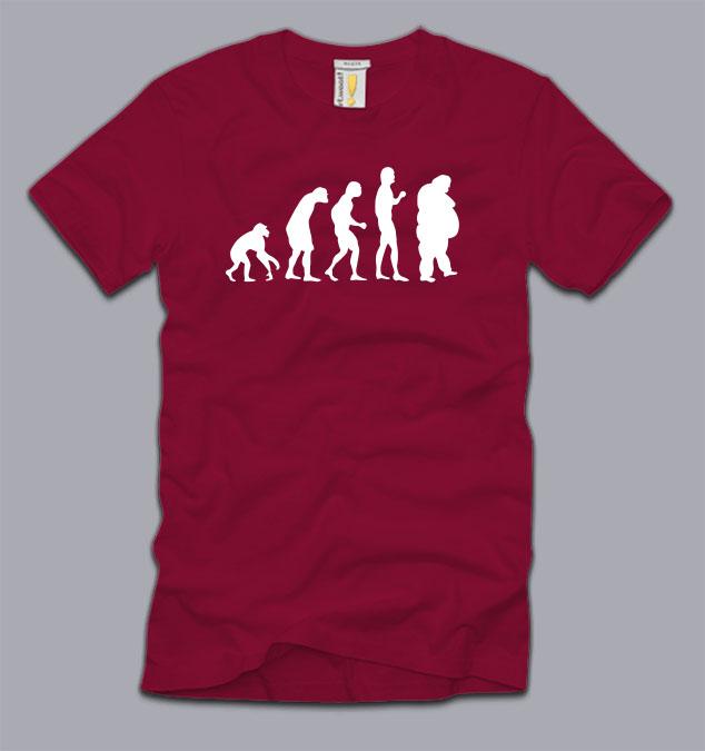 Fat Evolution Mens T Shirt Medium Funny Running Fitness